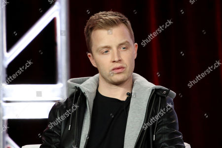 """Noel Fisher participates in the """"The Red Line"""" show panel during the CBS presentation at the Television Critics Association Winter Press Tour at The Langham Huntington, in Pasadena, Calif"""