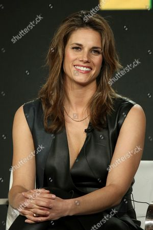 """Missy Peregrym participates in the """"The FBI"""" show panel during the CBS presentation at the Television Critics Association Winter Press Tour at The Langham Huntington, in Pasadena, Calif"""