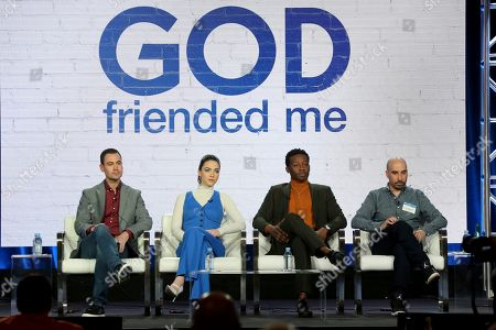"Steven Lilien, Violett Beane, Brandon Micheal Hall, Bryan Wynbrandt. Steven Lilien, from left, Violett Beane, Brandon Micheal Hall and Bryan Wynbrandt participate in the ""God Friended Me"" show panel during the CBS presentation at the Television Critics Association Winter Press Tour at The Langham Huntington, in Pasadena, Calif"