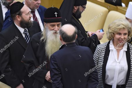 VII Christmas parliamentary meetings in the Russian State Duma. Metropolitan of the Russian Orthodox Old Believer Church Korniliy (center) and Russian Human Rights Ombudsman Tatyana Moskalkova (right) during the meetings.