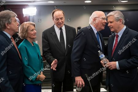 Roy Blunt, Shelley Moore Capito, Richard Shelby, Patrick Leahy, John Hoeven. From left, Sen. Roy Blunt, R-Mo., Sen. Shelley Moore Capito, R-W.Va., Sen. Richard Shelby, R-Ala., chair of the Senate Appropriations Committee, Sen. Patrick Leahy, D-Vt., ranking member of the Senate Appropriations Committee, and Sen. John Hoeven, R-N.D., greet each other as a bipartisan group of House and Senate bargainers meet to craft a border security compromise in hope of avoiding another government shutdown, at the Capitol in Washington