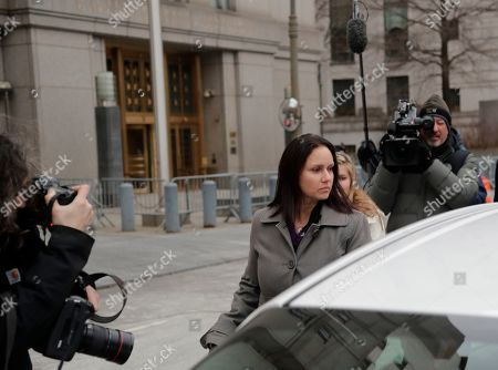Stock Image of Natalie Edwards leaves Federal court, in New York. Edwards, a senior official at the department's Financial Crimes Enforcement Network, also known as FinCEN, is accused of leaking several confidential suspicious activity reports to a journalist