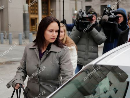 Stock Photo of Natalie Edwards leaves Federal court, in New York. Edwards, a senior official at the department's Financial Crimes Enforcement Network, also known as FinCEN, is accused of leaking several confidential suspicious activity reports to a journalist