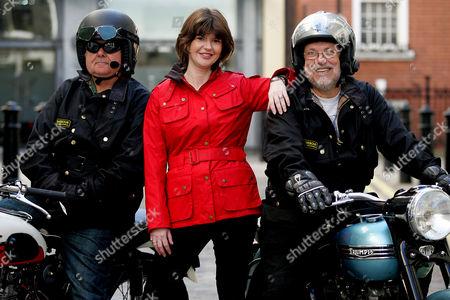 Helen Barbour with models wearing orginal Barbour biker jackets.