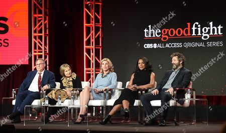 Robert King, Michelle King, Christine Baranski, Audra McDonald and Michael Sheen