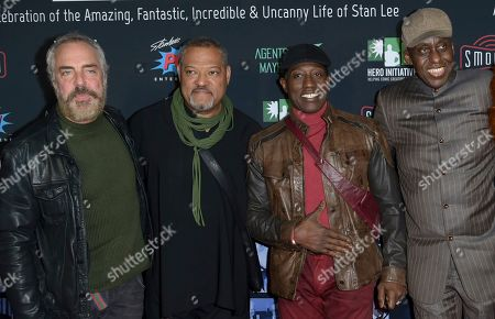 Stock Image of Titus Welliver, Laurence Fishburne, Wesley Snipes, Bill Duke. Titus Welliver, from left, Laurence Fishburne, Wesley Snipes and Bill Duke arrive at Excelsior! A Celebration of the Amazing, Fantastic, Incredible & Uncanny Life of Stan Lee, at the TCL Chinese Theatre in Los Angeles