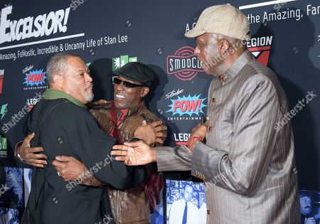 Stock Photo of Laurence Fishburne, Wesley Snipes, Bill Duke. Laurence Fishburne, from left, Wesley Snipes and Bill Duke speak as they arrive at Excelsior! A Celebration of the Amazing, Fantastic, Incredible & Uncanny Life of Stan Lee, at the TCL Chinese Theatre in Los Angeles