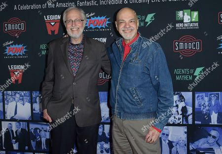 Stock Image of Marv Walter Wolfman Washington, George Perez. Marv Walter Wolfman Washington, left, and George Perez arrive at Excelsior! A Celebration of the Amazing, Fantastic, Incredible & Uncanny Life of Stan Lee, at the TCL Chinese Theatre in Los Angeles