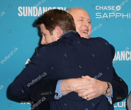 Derek Cecil (L) and USA actor John Lithgow (R) hug as they arrive for the premiere of ''The Tomorrow Man'' at the 2019 Sundance Film Festival in Park City, Utah, USA, 30 January 2019. The festival runs from 24 January to 02 February 2019.
