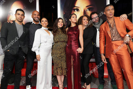 Wilmer Valderrama, Amaury Nolasco, Eva Longoria, America Ferrera, Gina Rodriguez, Diana Maria Riva, Pablo Cruz, Producer, and Ismael Cruz Cordova seen at Columbia Pictures presents the World Premiere of MISS BALA at Regal L.A. Live