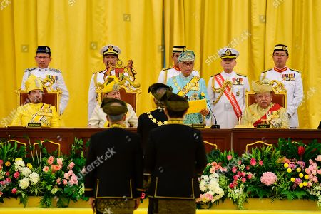 Stock Picture of Malaysia's new King Sultan Abdullah Sultan Ahmad Shah, standing third from left, takes an oath next to former king, Tuanku Syed Sirajuddin of Perlis, right, Sultan Mizan Zainal Abidin of Terengganu, left, and Sultan Sharafuddin Idris Shah of Selangor State during his coronation at National Palace in Kuala Lumpur, Malaysia, . Sultan Abdullah of central Pahang state was crowned Thursday as Malaysia's 16th king under a unique rotating monarchy system, nearly a month after the sudden abdication of Sultan Muhammad V