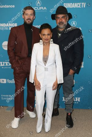 Gwilym Lee (L), Indigenous Australian actress Miranda Tapsell (C) and Indigenous Australian director Wayne Blair (R) arrive for the premiere of ''Top End Wedding'' at the 2019 Sundance Film Festival in Park City, Utah, USA, 30 January 2019. The festival runs from 24 January to 02 February 2019.