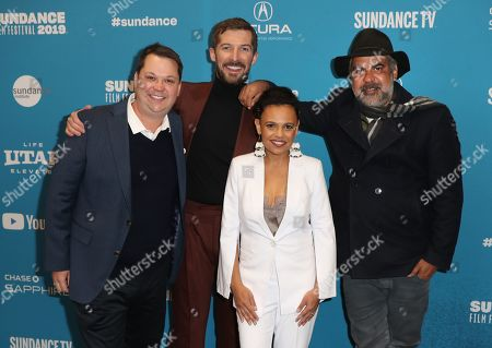 Australian producer Joshua Tyler, Welsh actor Gwilym Lee, Indigenous Australian actress Miranda Tapsell and Indigenous Australian director Wayne Blair, arrive for the premiere of ''Top End Wedding'' at the 2019 Sundance Film Festival in Park City, Utah, USA, 30 January 2019. The festival runs from 24 January to 02 February 2019.