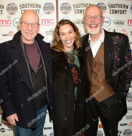 Stock Photo of Sir Patrick Stewart, Sunny Ozell and Bob Harris