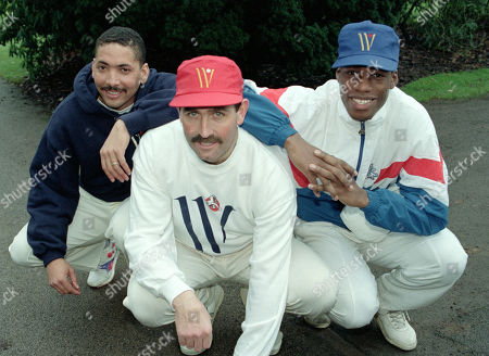 England Cricket Squad at Lilleshall National Sports Recreation Centre, Newport. Skipper Graham Gooch with Chris Lewis [r] and Phil DeFreitas