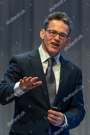 Bill Anderson, CEO Roche Pharmaceuticals, speaks during the annual results media conference at the Roche Tower in Basel, Switzerland, 31 January 2019.