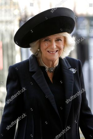 Britain's Camilla, Duchess of Cornwall arrives to attend a service of thanksgiving for the life of Peter Carrington at Westminster Abbey in London, . Carrington was one of the last British politicians to have served in the Second World War and was a cabinet minister under six Conservative Prime Ministers