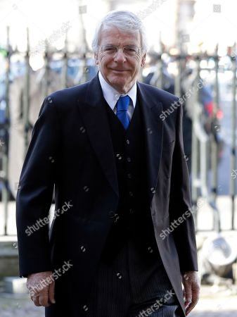 Britain's former Prime Minister John Major arrives to attend a service of thanksgiving for the life and work of Peter Carrington at Westminster Abbey in London, . Carrington was one of the last British politicians to have served in the Second World War and was a cabinet minister under six Conservative Prime Ministers