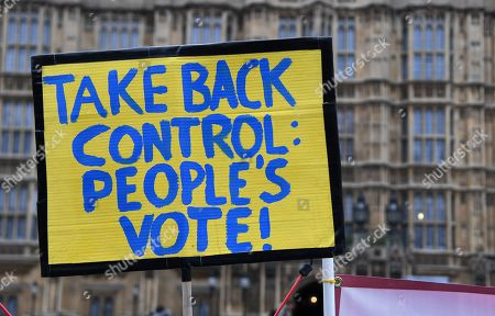 EU campaign placard is displayed outside of the Parliament in London, Britain, 31 January 2019. The House of Commons is set to vote on British Prime Minister Theresa May's Plan B for Brexit on 13 February.