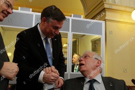 Spain's Foreign Minister Josep Borrell Fontelles (R) shakes hands with David McAllister, Chair of the European Parliament Foreign Affairs Committee, during the informal meeting of EU Foreign Ministers at the Romanian National Bank Headquarters in Bucharest, Romania, 31 January 2019.