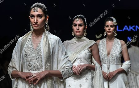 Stock Image of Models present creations by Indian designers Anita Dongre during the Lakme Fashion Week (LFW) Summer/Resort 2019 in Mumbai, India, 31 January 2019.