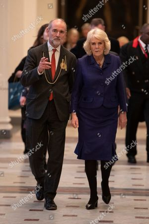 Camilla Duchess of Cornwall visiting the Royal Academy Of Art in Piccadilly to view the newly opened learning facilities and meet children and adults taking part in RA education programmes. The Duchess with Christopher le Brun, President of the Royal Academy of Arts.