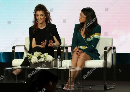 """Jennie Snyder Urman, Gina Rodriguez. Executive producer Jennie Snyder Urman, left, and Gina Rodriguez participate in the A Final Farewell to """"Jane the Virgin"""" panel during the Showtime TCA Winter Press Tour, in Pasadena, Calif"""