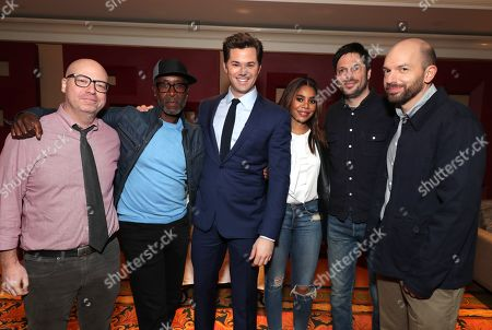 Stock Photo of Jordan Cahan, Creator/Executive Producer, Don Cheadle, Andrew Rannells, Regina Hall, David Caspe, Creator/Executive Producer, Paul Scheer