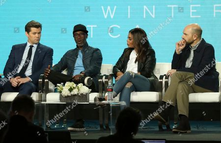 "Jordan Cahan, David Caspe, Andrew Rannells, Don Cheadle, Regina Hall, Paul Scheer. Andrew Rannells, from left, Don Cheadle, Regina Hall and Paul Scheer participate in the ""Black Monday"" panel during the Showtime TCA Winter Press Tour, in Pasadena, Calif"