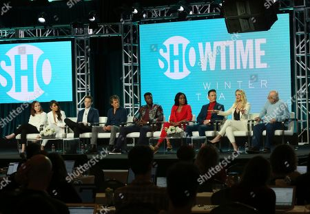 "Jennifer Todd, Sarah Shahi, Mark O'Brien, Kevin Bacon, Aldis Hodge, Lauren E. Banks, Jonathan Tucker, Amanda Clayton, Tom Fontana. Executive producer Jennifer Todd, from left, Sarah Shahi, Mark O'Brien, Kevin Bacon, Aldis Hodge, Lauren E. Banks, Jonathan Tucker, Amanda Clayton and executive producer/showrunner Tom Fontana participate in the ""City on a Hill"" panel during the Showtime TCA Winter Press Tour, in Pasadena, Calif"