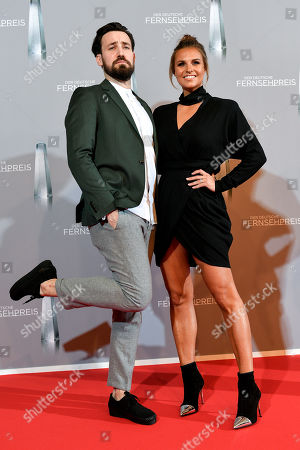 German TV presenters Jan Koeppen (L) and Laura Wontorra (R) arrive for the prize-giving ceremony of the 20th German Television Award in Duesseldorf, Germany 31 January 2019. The Deutscher Fernsehpreis is awarded for television programming by four German TV channels annually.