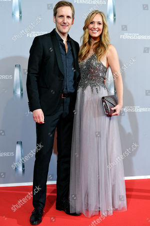 Stock Picture of German actor and TV presenter Jan Hahn (L) and Angela Finger-Erben (R) arrive for the prize-giving ceremony of the 20th German Television Award in Duesseldorf, Germany 31 January 2019. The Deutscher Fernsehpreis is awarded for television programming by four German TV channels annually.