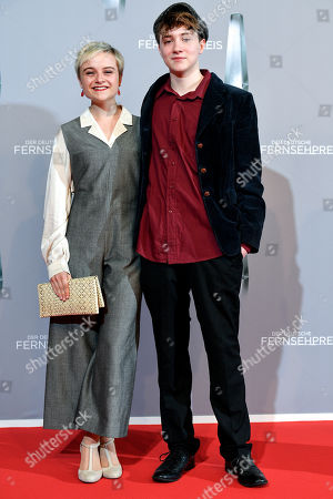 Lena Urzendowsky (L) and actor Michelangelo Fortuzzi (R) arrive for the prize-giving ceremony of the 20th German Television Award in Duesseldorf, Germany 31 January 2019. The Deutscher Fernsehpreis is awarded for television programming by four German TV channels annually.