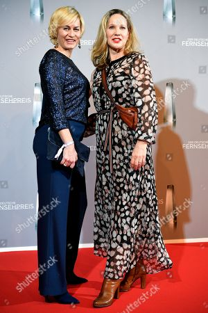 Stock Picture of Gesine Cukrowski (L) and Ann-Kathrin Kramer (R) arrive for the prize-giving ceremony of the 20th German Television Award in Duesseldorf, Germany 31 January 2019. The Deutscher Fernsehpreis is awarded for television programming by four German TV channels annually.