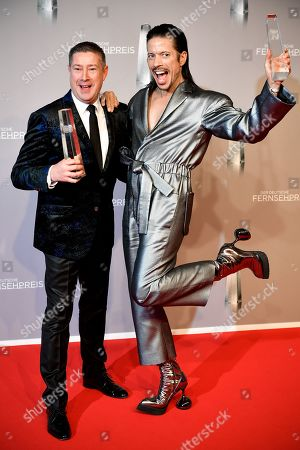 Stock Picture of Dance jury members Joachim Llambi (L) and Jorge Gonzalez (R) pose with their 'Best Entertainment Prime Time' awards during the prize-giving ceremony of the 20th German Television Award in Duesseldorf, Germany 31 January 2019. The Deutscher Fernsehpreis is awarded for television programming by four German TV channels annually.