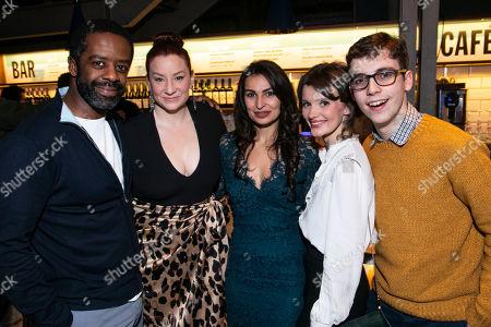 Adrian Lester (Eddie), Katy Sullivan (Ani), Martyna Majok (Author), Emily Barber (Jess) and Jack Hunter (John)