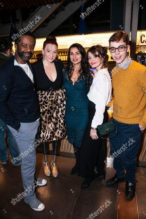 Stock Photo of Adrian Lester (Eddie), Katy Sullivan (Ani), Martyna Majok (Author), Emily Barber (Jess) and Jack Hunter (John)