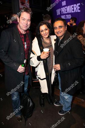 Stock Image of Joe Penhall, Meera Syal and Sanjeev Bhaskar
