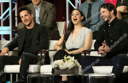 """Michael Trevino, Jeanine Mason, Nathan Parsons. Michael Trevino, from left, Jeanine Mason and Nathan Parsons participate in the """"Roswell, New Mexico"""" panel during the CW TCA Winter Press Tour, in Pasadena, Calif"""