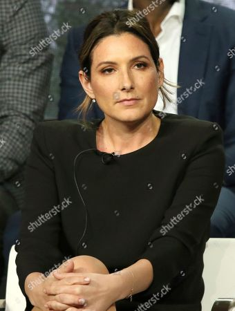 """Corinne Kingsbury participates in the """"In the Dark"""" panel during the CW TCA Winter Press Tour, in Pasadena, Calif"""