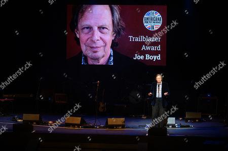Joe Boyd - winner of the Trailblazer award, presented by Rich Hall