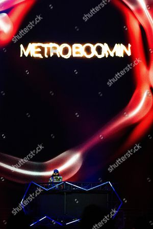 Metro Boomin performs on stage at the Bud Light Super Bowl Music Fest at the State Farm Arena, in Atlanta