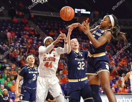 Danielle Edwards, Jessica Stewart, Kobi Thornton. Notre Dame's Danielle Edwards, right, Jessica Stewart, center battle Clemson's Kobi Thornton for a rebound during the first half of an NCAA college basketball game, in Clemson, S.C. Notre Dame won 101-63