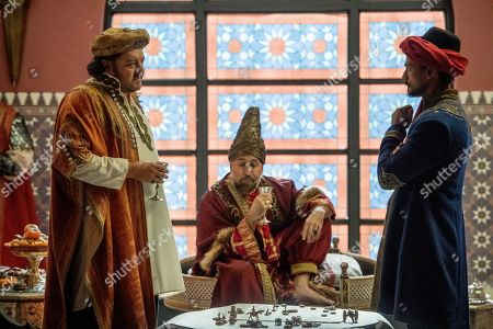 Stock Picture of Ivan Kaye as Ghazi Khalif, Carlo Rota as Mustapha Bey and Jan Uddin as Tariq