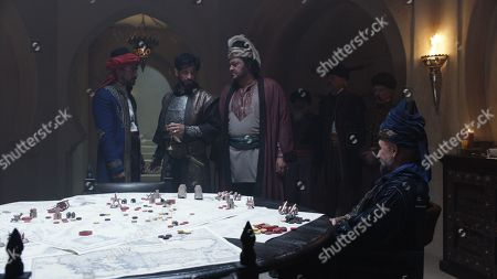 Stock Picture of Jan Uddin as Tariq, Raza Jaffrey as Sunal, Ivan Kaye as Ghazi Khalif and Carlo Rota as Mustapha Bey