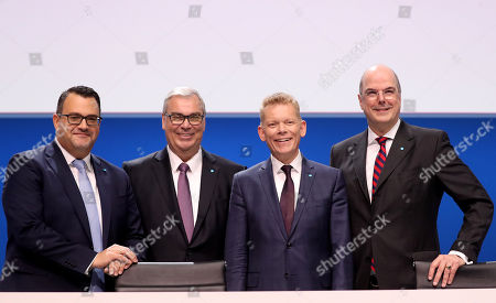 Board member Oliver Burkhard, new ThyssenKrupp CFO Johannes Dietsch, ThyssenKrupp CEO Guido Kerkhoff and board member Donatus Kaufmann attend the company's annual general meeting in Bochum, Germany, 01 February 2019. ThyssenKrupp, that is going through a major restructuring process, confirmed their outlook for 2018-2019. The company expects to have an adjusted operating profit of more than one billion euro from its continuing operations.