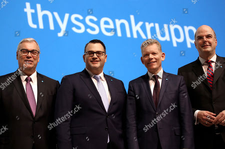 New ThyssenKrupp CFO Johannes Dietsch, Board member Oliver Burkhard, ThyssenKrupp CEO Guido Kerkhoff and board member Donatus Kaufmann attend the company's annual general meeting in Bochum, Germany, 01 February 2019. ThyssenKrupp, that is going through a major restructuring process, confirmed their outlook for 2018-2019. The company expects to have an adjusted operating profit of more than one billion euro from its continuing operations.