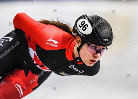 Courtney Lee Sarault of Canada in action during the women's 1,500m quarter finals at the ISU World Cup Short Track Speed Skating in Dresden, Germany, 01 February 2019.