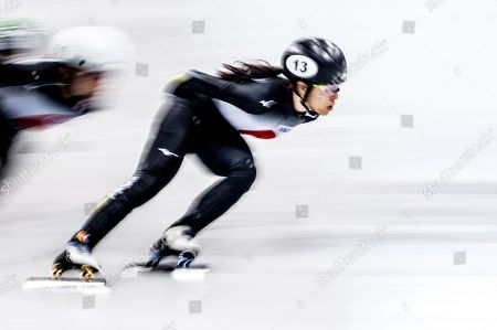 Sumire Kikuchi of Japan in action during the women's 1,500m quarter finals at the ISU World Cup Short Track Speed Skating in Dresden, Germany, 01 February 2019.