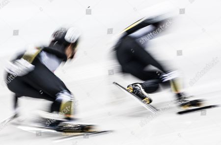 Sumire Kikuchi and Yuki Kikuchi, both of Japan, in action during the women's 1,500m quarter finals at the ISU World Cup Short Track Speed Skating in Dresden, Germany, 01 February 2019.